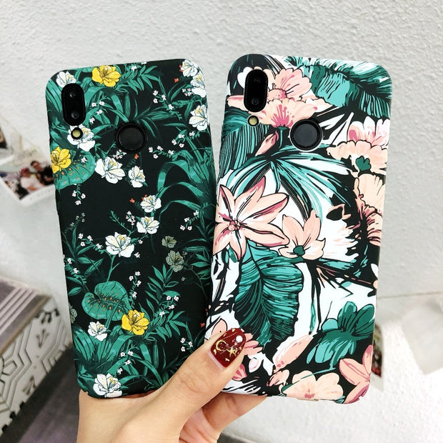 Luxury Luminou Hard PC Back Case For Huawei P20 P20 Lite Ultra Slim Matte Leaves Flower Case For Huawei Mate 10 Mate 10 Pro
