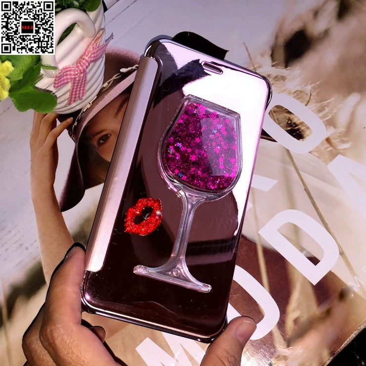 Luxury Mirror Leather Case For Huawei P9 8 10 Lite Diamond Case For Huawei Mate 10 8 7 Flip Phone Cover Pink Silver Gold Case