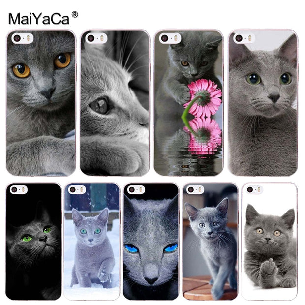 MaiYaCa Animal Grey Cat British Short-tailesd Cat Phone Accessories Case For Apple IPhone 8 7 6 Plus X XS XR XSMax 5 5S SE Cover