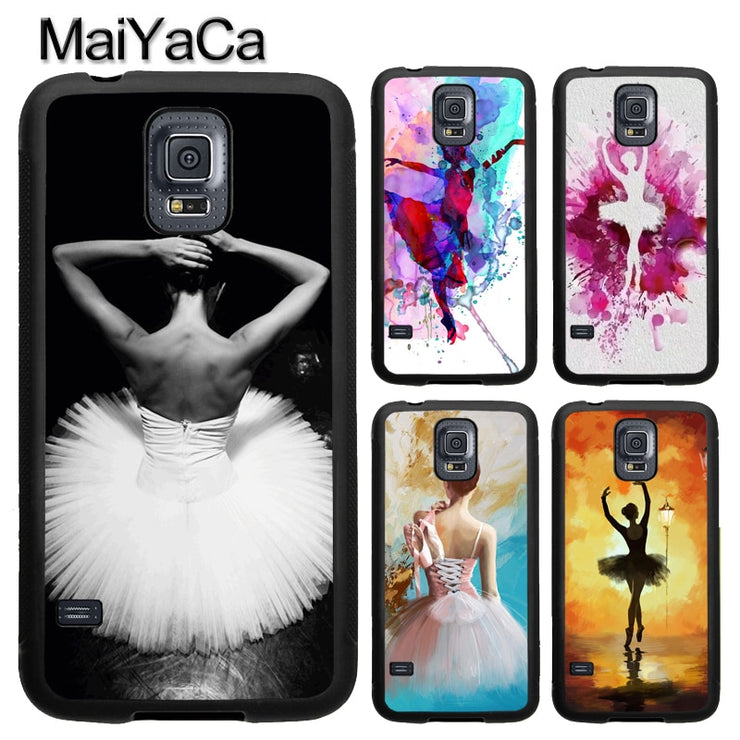 MaiYaCa Ballet Dancer Girl Watercolor Phone Case For Samsung Galaxy S9 S8 Plus S4 S5 S6 S7 Edge Note 8 5 4 TPU Cover Skin Shell