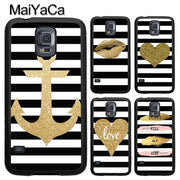 MaiYaCa Gold Glitter Sparkles Stripes Heart Case For Samsung Galaxy S9 S8 Plus S4 S5 S6 S7 Edge Note 8 5 4 TPU Cover Skin Shell