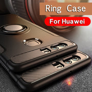 Metal Ring Phone Case For Huawe Mate 9 10 Pro P9 P10 P20 Lite Nova 2S 2 Plus Honor 7X 8 9 V8 V9 Play V10 Silicone Hard Cases
