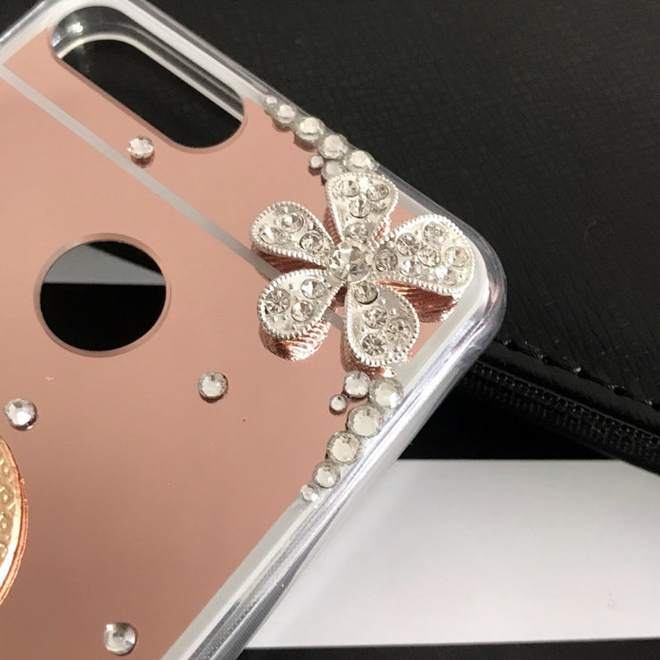 Mirror Bling Holder Case For Huawei P20 Y6 Prime 2018 Honor 7C 7A Pro Y5 Y9 Y7 Prime 2018 Honor 8X 8C 10 8 9 Lite P Smart Plus