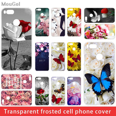 MouGol Red Butterfly On White Roses Flower Transparent Phone Case For Xiaomi Redmi 5 6 4X A Plus Pro Mi 5X A1 8se Note 3 4 5A
