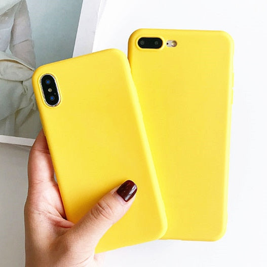 save off 24bae cc0fb Mustard Yellow Soft Silicon Case For IPhone X XS 8 7 6 6S Plus 7plus 8plus  Housing Phone Case Back Cover Gifts