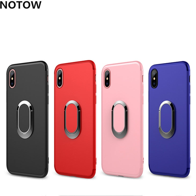 NOTOW 360 Degrees Rotation Ring Grip Stand Holder Cover Frosted TPU Magnetic Metal Cap Auto Mount Case For Iphone X XS XSMAX XR