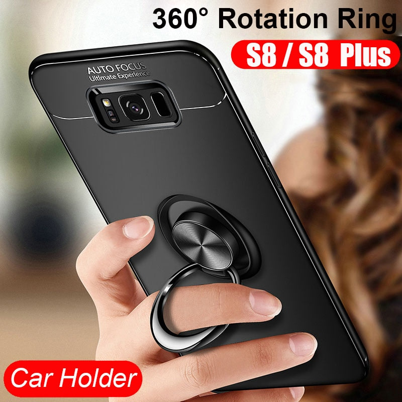 New Finger Ring Stand Car Holder Case For Samsung Galaxy S8 S8+ S8 S9 Plus  S9 Note 8 Note 9 Back Cover Silicone Case Coque Funda