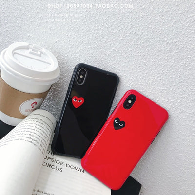 New Glossy CDG Play Comme Des Garcons Soft Silicon Phone Case For Iphone 6 6s Plus 7 7plus 8 Plus X XS XR MAX Luxury Cover Funda