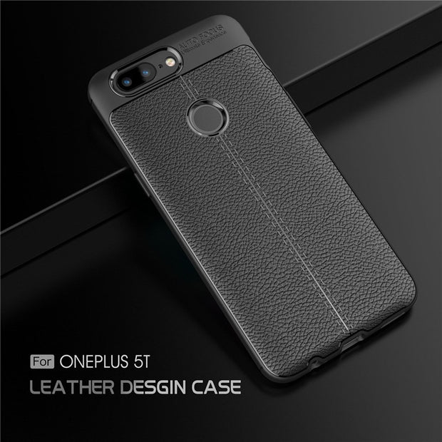 Newest For Oneplus 5T Case Luxury PU Leather Soft TPU Back Cover Silicone Case For Oneplus 5 Case 1+5T Protective Phone Shell