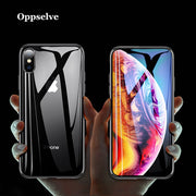 Oppselve Luxury Glass Case For IPhone XR XS Max X 10 Coque Soft TPU Transparent Glass Back Protective Cover For IPhoneX Capinhas