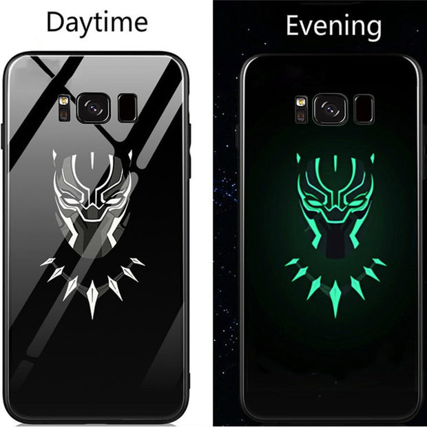 Phone Case Avengers Marvel Batman Captain America Iron Man Pattern Luminous Glass Hard Case For Samsung Galaxy S8 S9 Plus Note 8