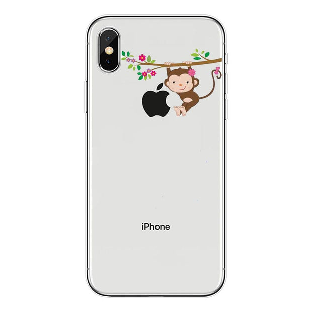 Phone Cases Amazing Monkey Cartoon Animal For Iphone 5S SE 6 6s 6SPlus 7 7Plus 8 8Plus Soft Silicone Transparent Tpu Coque