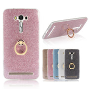 Phone Ring Holder Case For Asus Zenfone 2 Laser ZE500KL ZE550KL Glitter Back Cover Silicone Gel Etui CapaCoque Hoesjes Capinhas