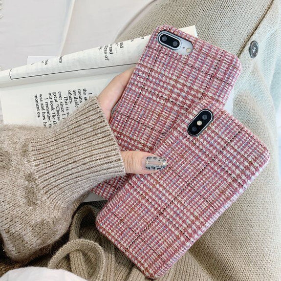 3fcf62b2a930 Pink Grid Cloth Phone Case For IPhone XS MAX XR X Fabric Plush Couple