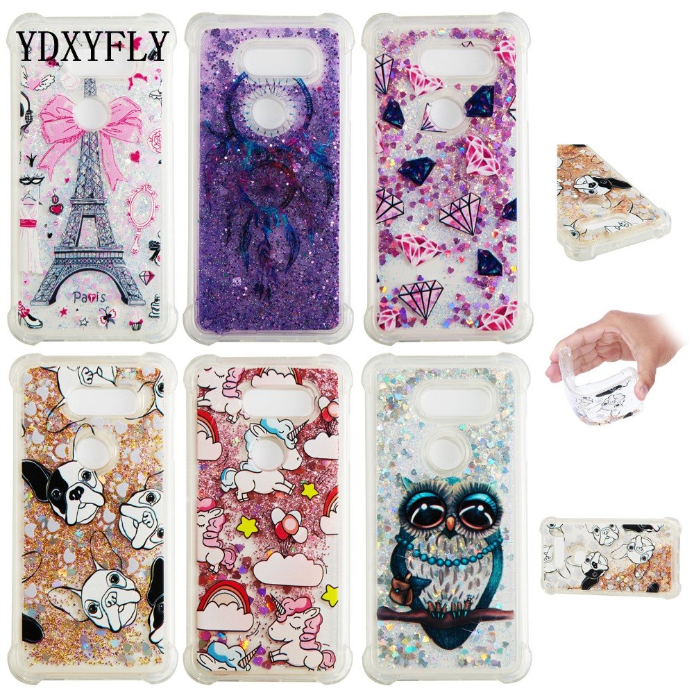 Protective TPU Flowing Liquid With Picture Case For LG STYLO 3 V20 V30 Glitter Floating Quicksand Case For LG K4 K8 K10 2017 EU