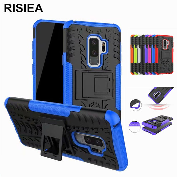 RISIEA Case Cover TPU +PC Phone Stand Case For Samsung Galaxy S8 S9 Plus Note 7 8 C7 C9 Pro A3 A5 A7 A8 Plus 2017 2018 Case