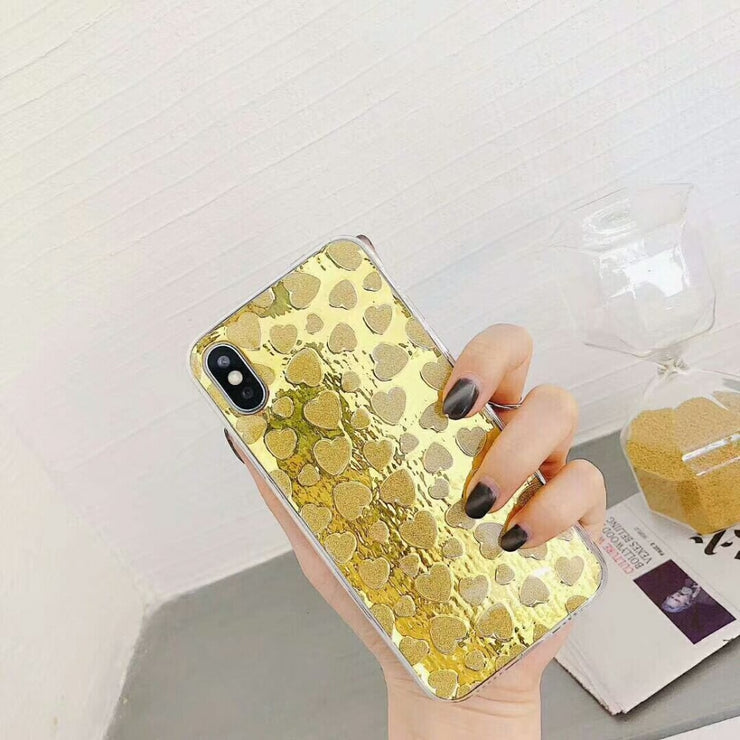 Retro Bling Shining Glitter Mirror Love Heart Case For IPhone X 8 8 Plus 7 7 Plus 6 6s 6 Plus Case Back Cover Fundas Coque