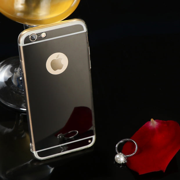 Rose Gold Luxury Bling Mirror Case For IPhone X 8 6 6S 7 5 5s SE Plus Clear TPU Edge Ultra Slim Flexible Soft Cover