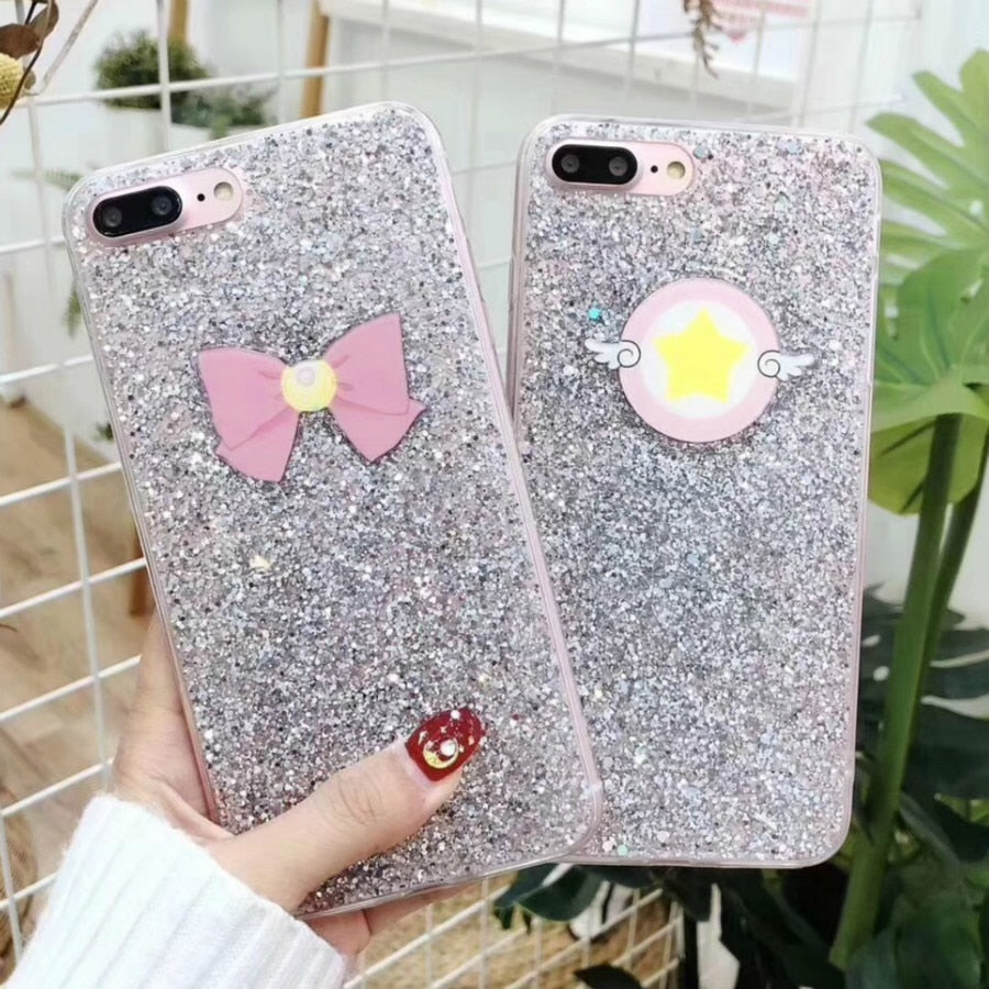 SERACASE For IPhone X 8 8Plus 6 6s 7 Plus Phone Cases Lovely Luxury Sailor Moon Sequin Glitter Bling Bowknot Phone Case Coque