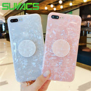 SUYACS Kickstand White & Pink Soft IMD Dream Shell Case For IPhone XS MAX XR X 6 6S 7 8 Plus Protector Phone Cases For XS MAX