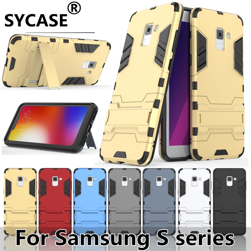 SYCASE Iron Man Male Case For Samsung Galaxy S6 Edge Plus S7 S8 S9 Plus Note8 Note9 Case Anti-fall Bracket Protection Back Cover