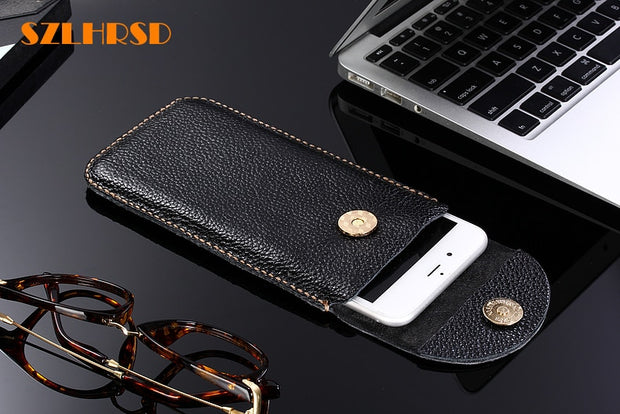 SZLHRSD Genuine Leather Phone Bags For Xiaomi Mi Max 3 Pro 6.9inch Flip Cover Slim Pouch Stitch Sleeve For Mi Max 2/Mi Mix 2S