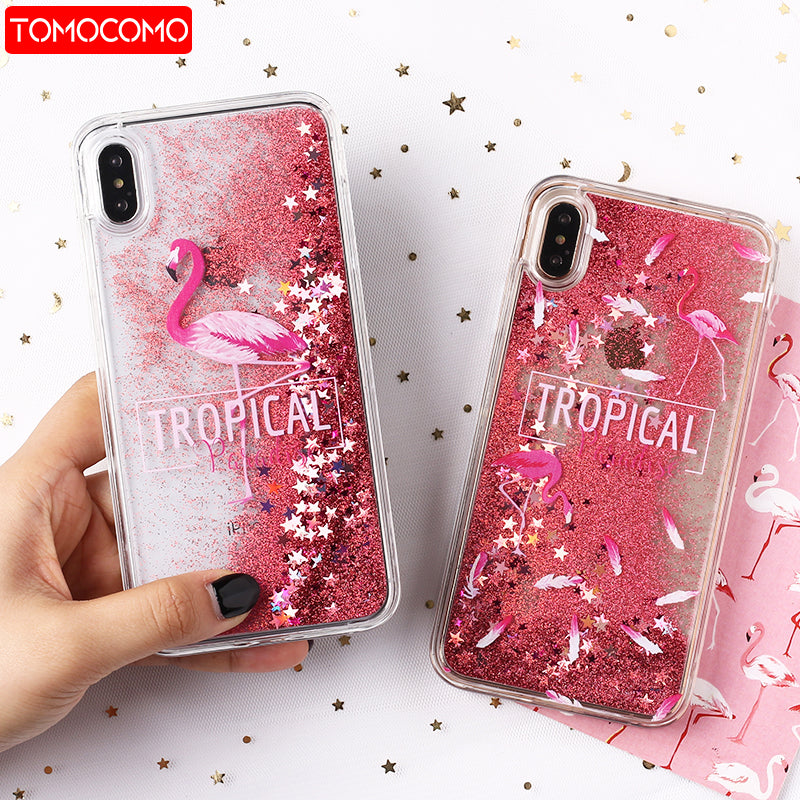new styles 765e6 a1ce7 Sexy Flamingo Icecream Unicorn Coffee Floral Quicksand Glitter Liquid Hard  Case For IPhone 7 7Plus 6 6S 5 5S SE 8 8Plus X XS Max