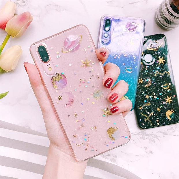 Shining Saturn Glitter Soft Case For Huawei P8 Lite 2017 P9 P10 Lite P20 Pro Case For Huawei P Smart P9 Lite 2017 P10 Plus