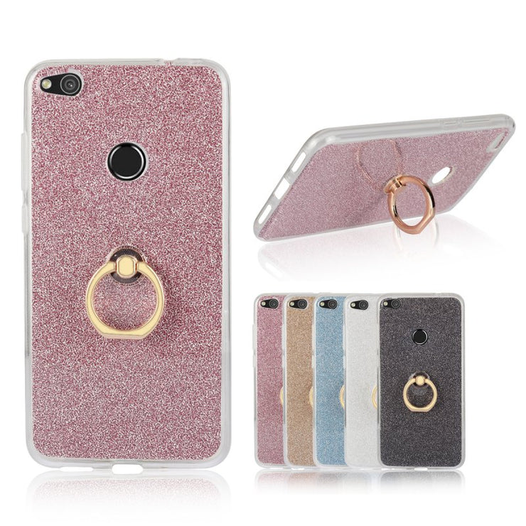Shiny Case For Huawei P9 Lite 2017 With Ring Holder Back Cover Luxury Glitter Stand Soft Shell Sfor Huawei GR3 Coque Hoesje Etui