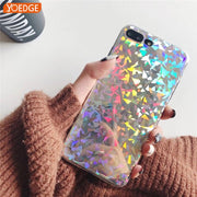 Shiny Fashion Laser Light Phone Case For IPhone X Case For IPhone 6 6S 7 8 Plus Cover Colorful Geometry Pattern Cases Capa