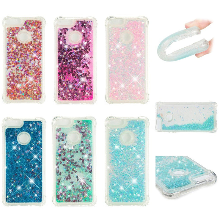 Shockproof Glitter Floating Quicksand Protective Case For Huawei Enjoy 7S Luxury Soft TPU Flowing Liquid Cover Case For Enjoy 7S