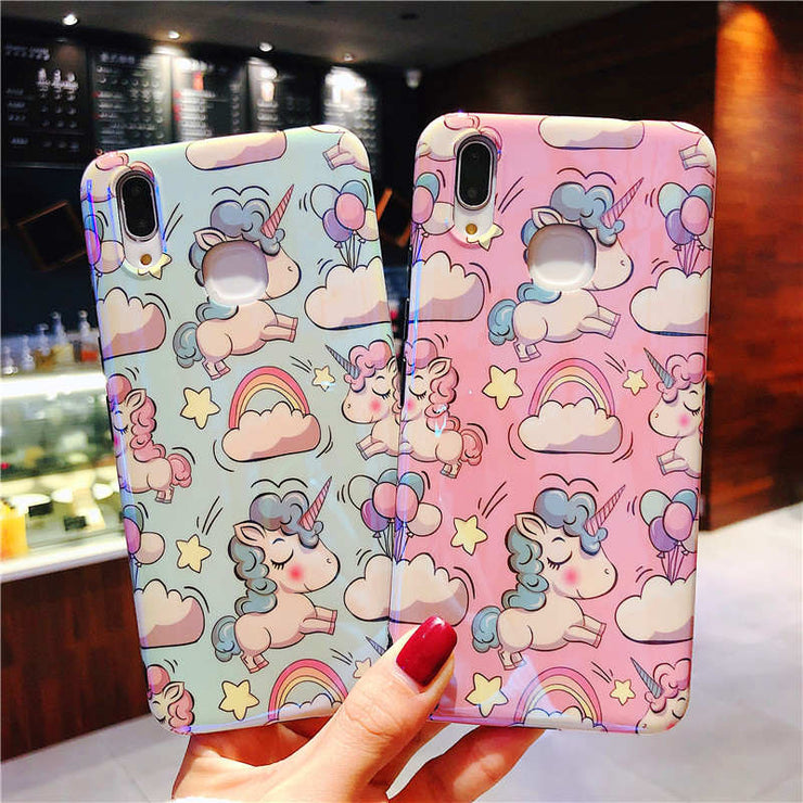 Silicone IMD Unicorn Case For Huawei P20 Lite P20 Pro Funda Pink Blue Soft TPU Cover For Coque Huawei Nova 3 3i 3e Honor 10 Case