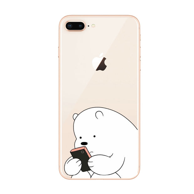 Smart Fat Bare Bears Mobile Phone Covers Cases For Iphone 8 8Plus 7 6SPlus Soft Slim TPU Lovely Cute For Iphone X Phone Cases