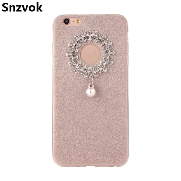 Snzvok Flash Powder Pendant TPU Phone Case For IPhone 7 8 6 6s 6s Plus Ultra Thin Silicone Transparent Soft TPU Phone Case