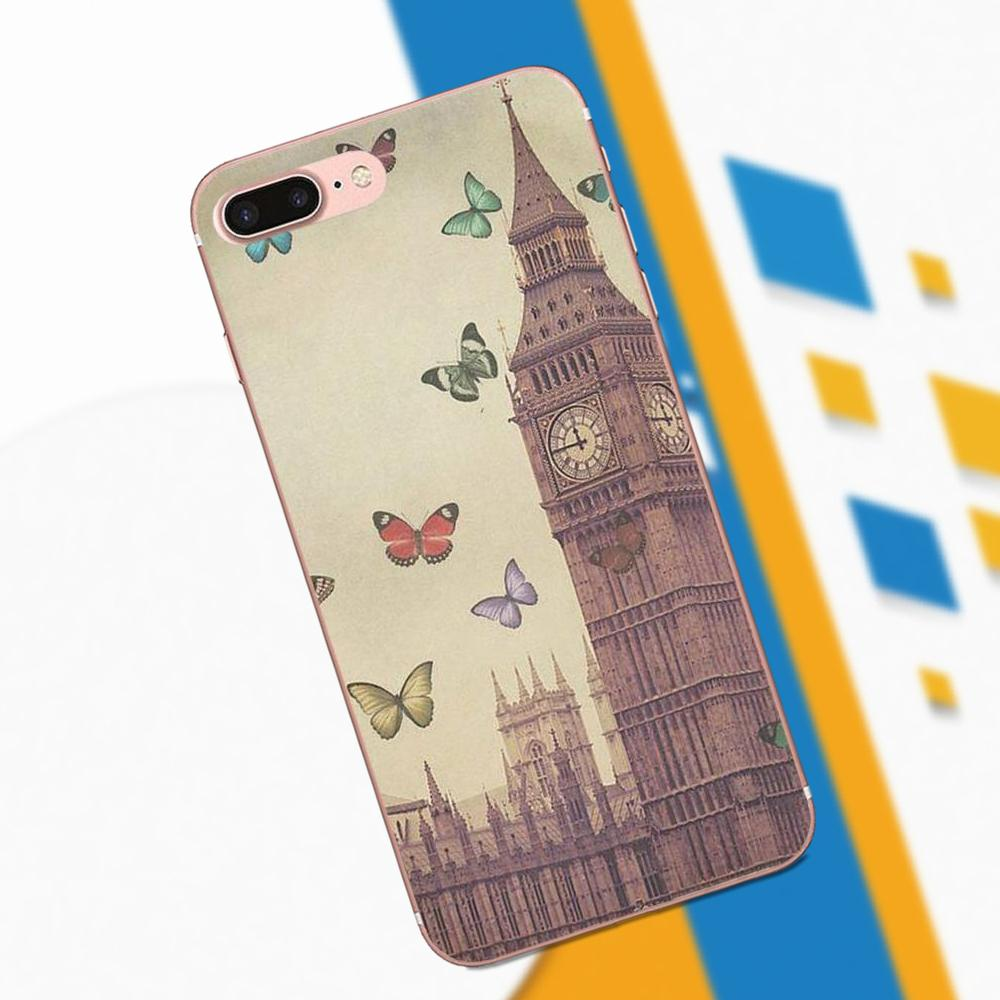 Soft Covers Cases London Big Ben With Butterfly For Galaxy A3 A5 A7 On5 On7 2015 2016 2017 Grand Alpha G850 Core2 Prime S2 I9082
