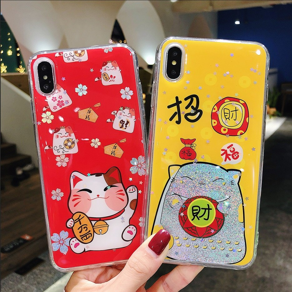 the best attitude d3cd4 ee44f Soft TPU Case For Iphone 6 6s 7 8 Plus 3D Cartoon Fortune Cat Vineyard  Vines For IPhone X Back Case Cover