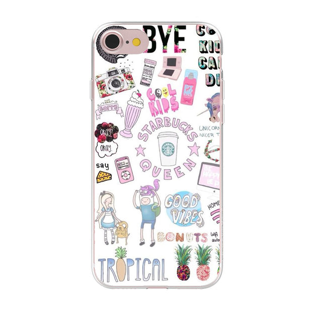 Soft TPU Gel Silicon Cartoon Fruit Nutella Macarons Case Cover For Apple IPhone 8 X 7 6 Plus 5 5S SE Transparent Phone Case