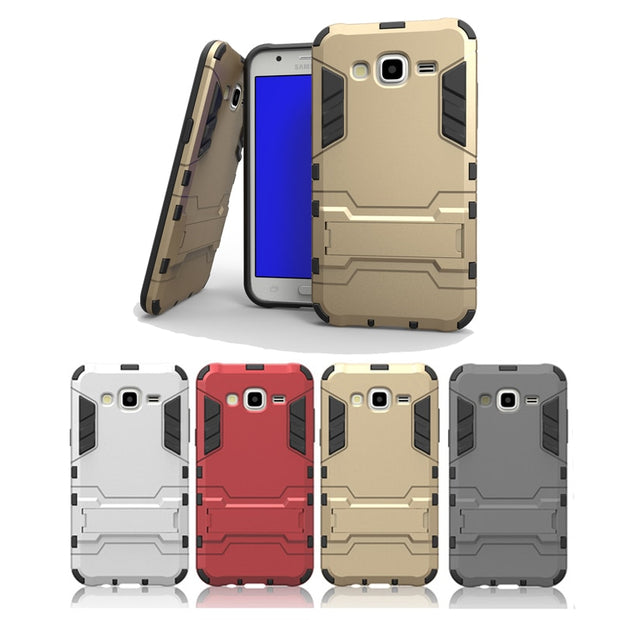 Soft TPU Hard PC Cover Case For Samsung Galaxy J5 2015 J500 J500F 2 In 1 Armor Combo Phone Bags Cases Kickstand Holder Shell