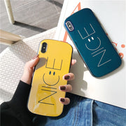 Soft TPU Phone Case For IPhone XS XR MAX Case Silicone Blue Light Smiley Face Back Cover For IPhone 6 6S 6Plus 7 7Plus X Case