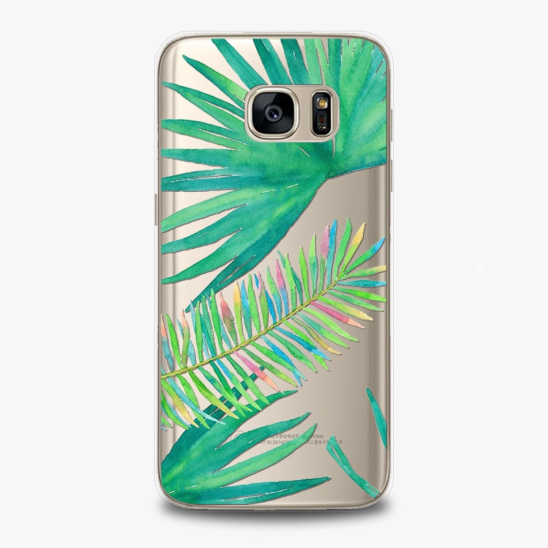 Sunflower Leaf Summer Floral Phone Case Cover For Samsung Galaxy S7 Beautiful Colorful Soft TPU Protective Back Fundas Capa