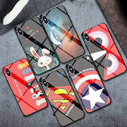 Superman Good Tempered Glass Phone Case For Apple IPhone 6 7 8 Plus Cases 6S Plus Captain America Cover For IPhone X XS MAX XR