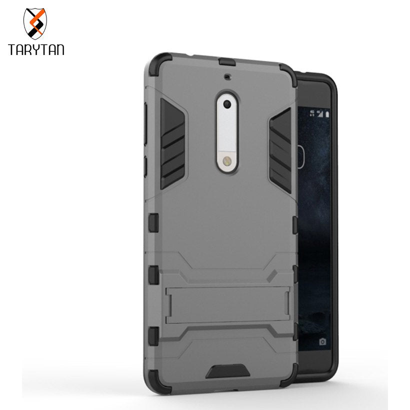 TaryTan 2 In 1 Armor Cover For NOKIA 5 Case Cell Phone Skin Cases Shell Hood Cover Bags TPU+PC Armor Anti-Knock Protective Skin
