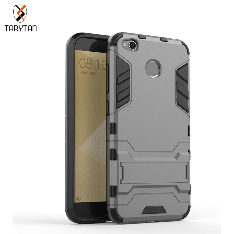 TaryTan 2 In 1 Armor Cases Phone Bags For Xiaomi Redmi4 Slim Robot Armor Phone Case Stand Shockproof Rubber Cover Fundas Shell