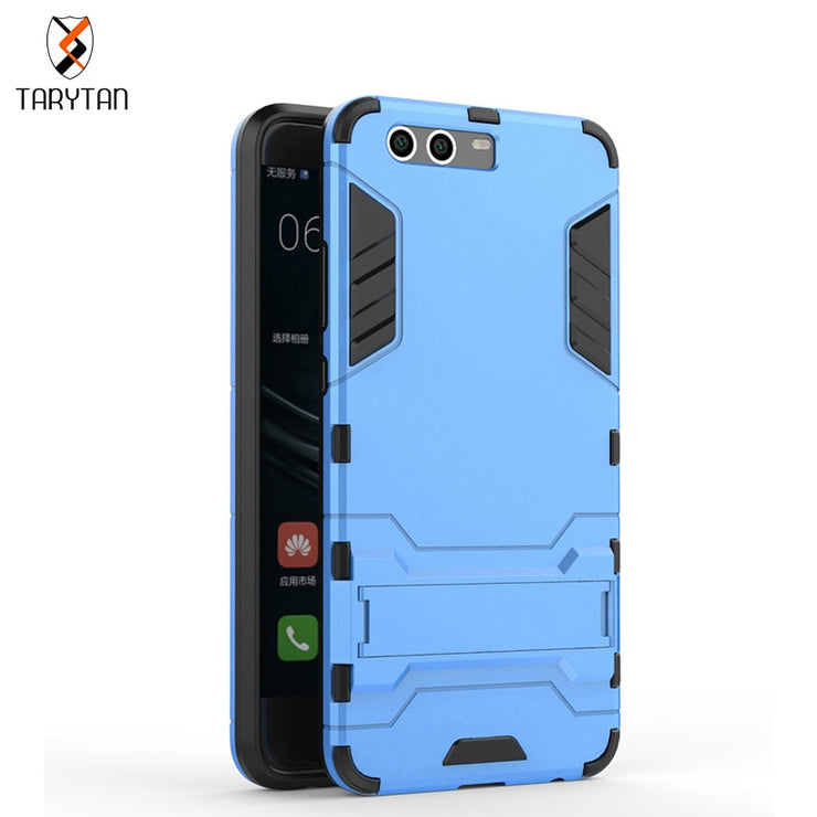 TaryTan Mobile Phone Bags For Huawei P10 Plus Case Slim Robot Armor Phone Case Stand Shockproof Rubber Hard Back Cover Carcasa