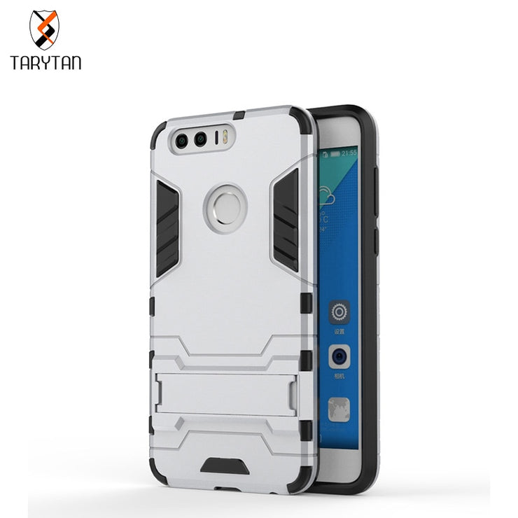 TaryTan Mobile Phone Case For Huawei Honor 8 V8 Pro V9 2017 Cover TPU + PC Hybrid Kickstand 2 In1 Bag Armor Shell Skin Hood Bag