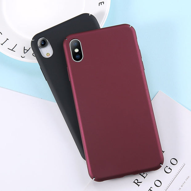 USLION Matte Hard Case For IPhone 7 Plus XR XS Solid Color PC Cases Fundas For IPhone XS Max X 8 7 6 6S Plus 5 5S SE Phone Cover