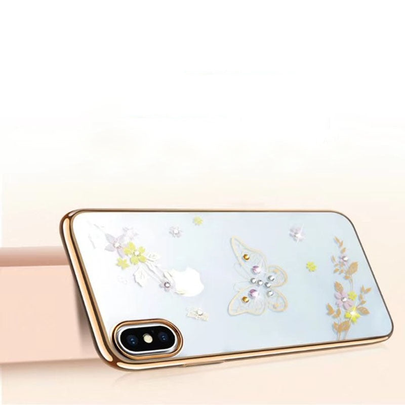 Ultral-Thin PC Electroplating For Iphone X Cases Butterfly Diamond For Iphone 7 Back Protector Covers For Iphone 6 6S Plus