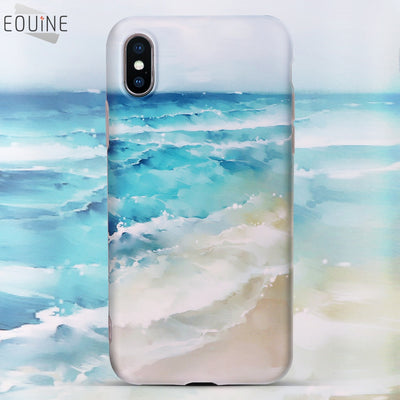 Ultrathin Durable Luxury Blue Sea Waves Beach Painted Case For IPhone X Case For IPhone 6 6S 7 8 Plus IMD Ocean Back Cover