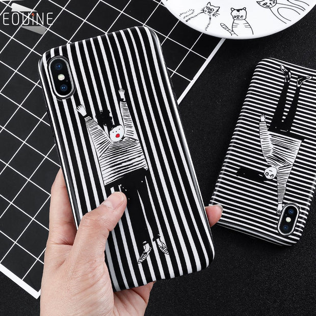 Ultrathin Originality Durable Luxury Cute Black White Stripe Soft Phone Case For IPhone 6 6S 7 8 Plus Silicone Back Cover Fundas