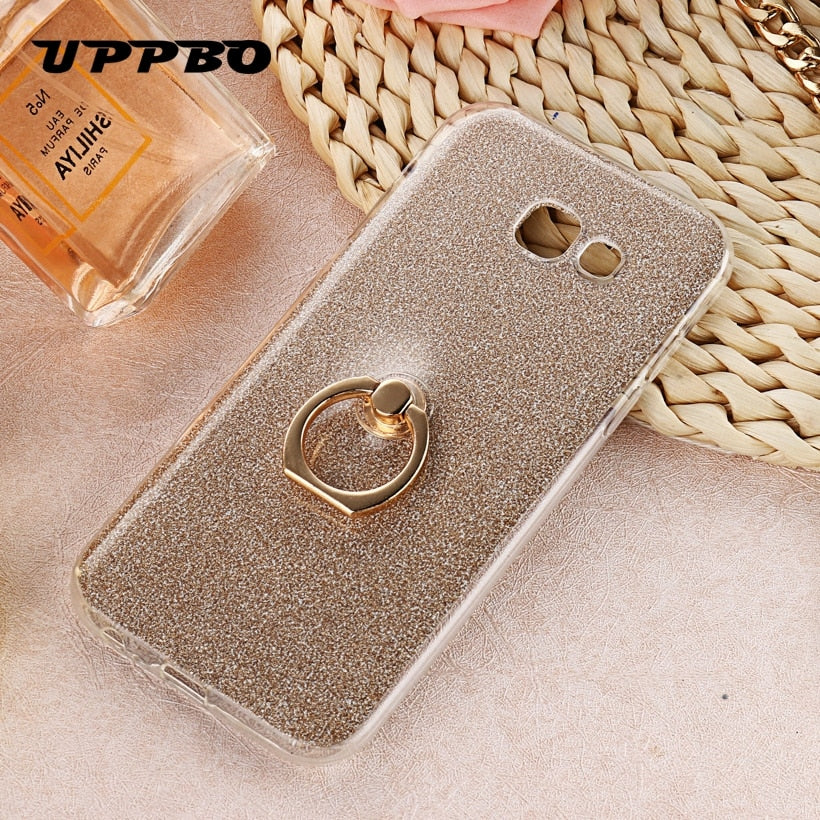 Uppbo Bling Shining Glitter Silicone Case For Samsung Galaxy A7 2017 Duos A720F A720F/DS A720 Cover Soft Bag Coque Capa Fundas